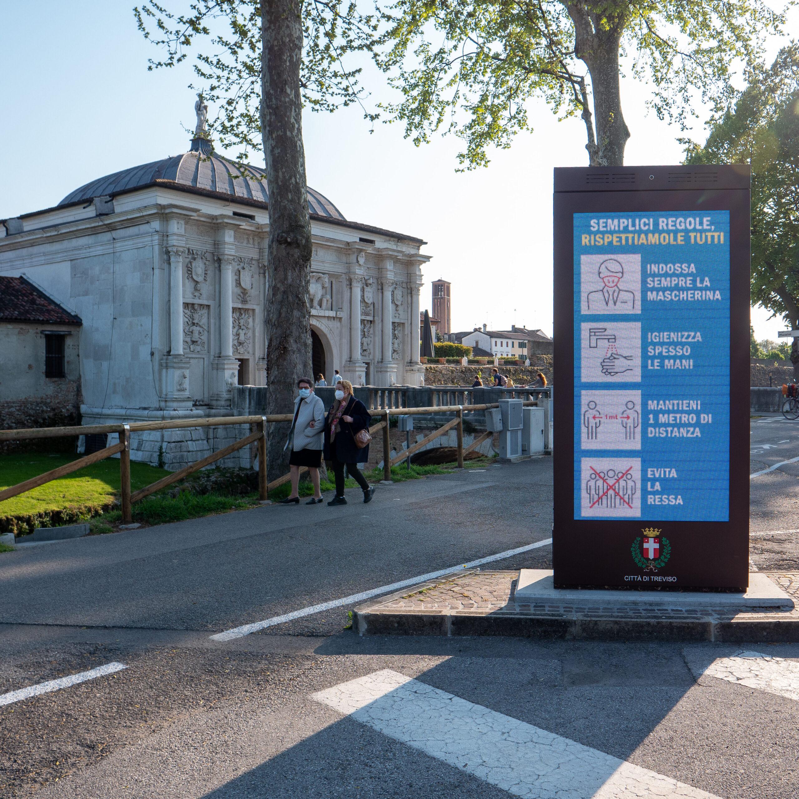 Segnaletica stradale DOOH città di Treviso realizzata con display LG. Progetto a cura di Emergo srl